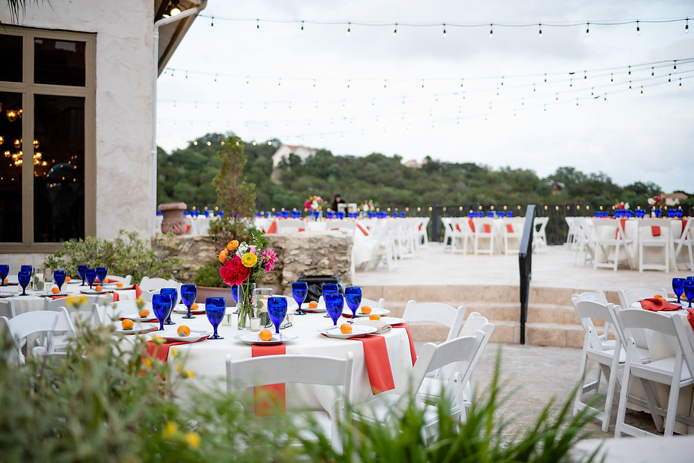 terrace dinner setup at villa antonia