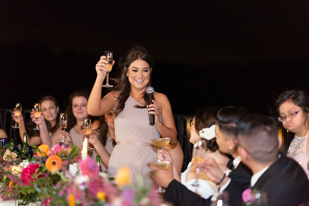 wedding speech on terrace at villa antonia