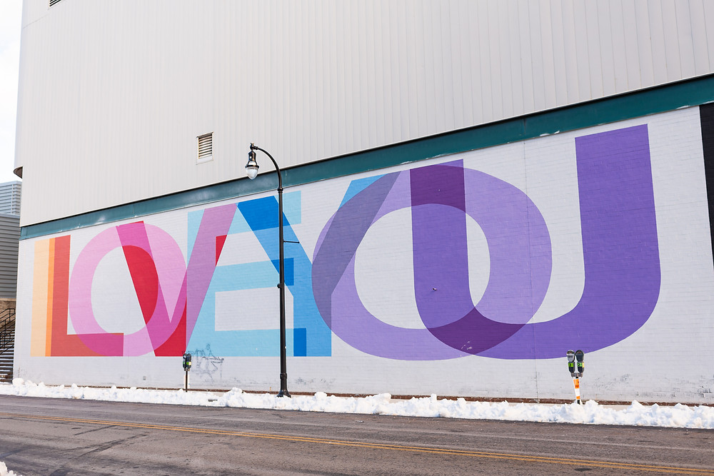 love you mural on the DCU center wall in Worcester, MA
