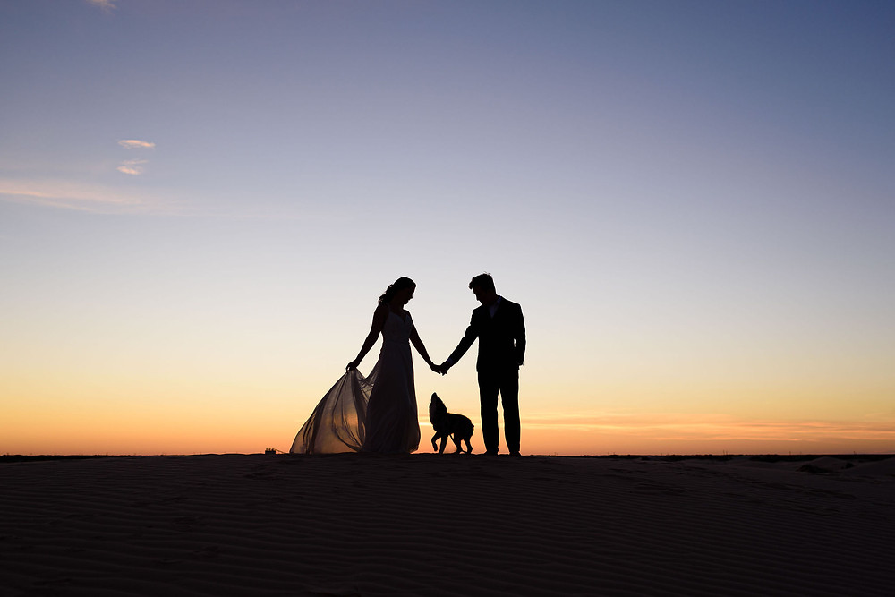 silhouette photo of a girl, guy, and dog. the couple is holding hands. the dog is between them, with one leg in the air, looking up at their hands