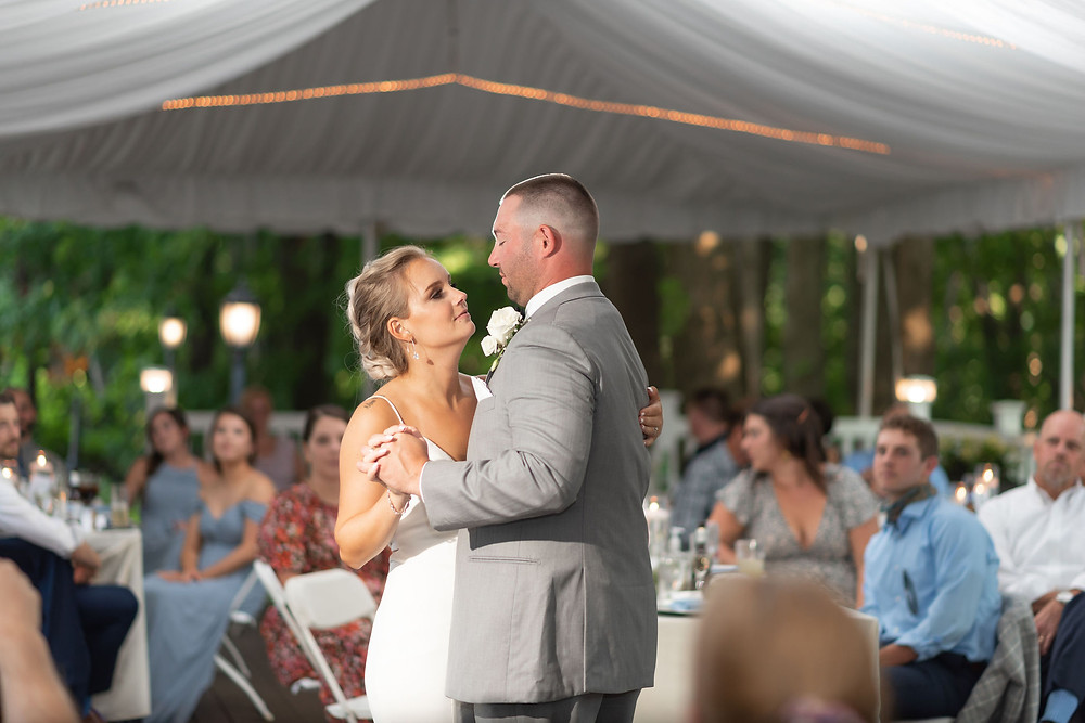 bride and groom first dance during wedding reception at the chocksett inn