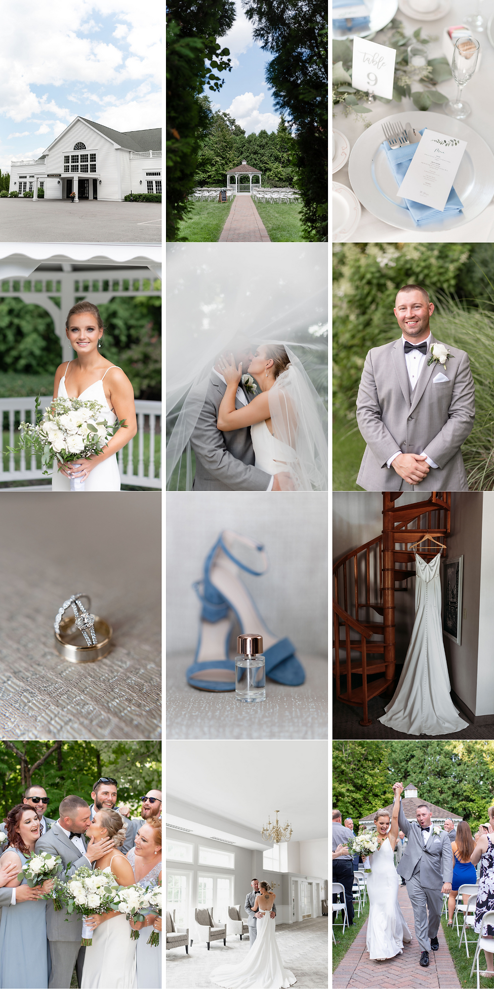 collage of photos from a wedding at chocksett inn