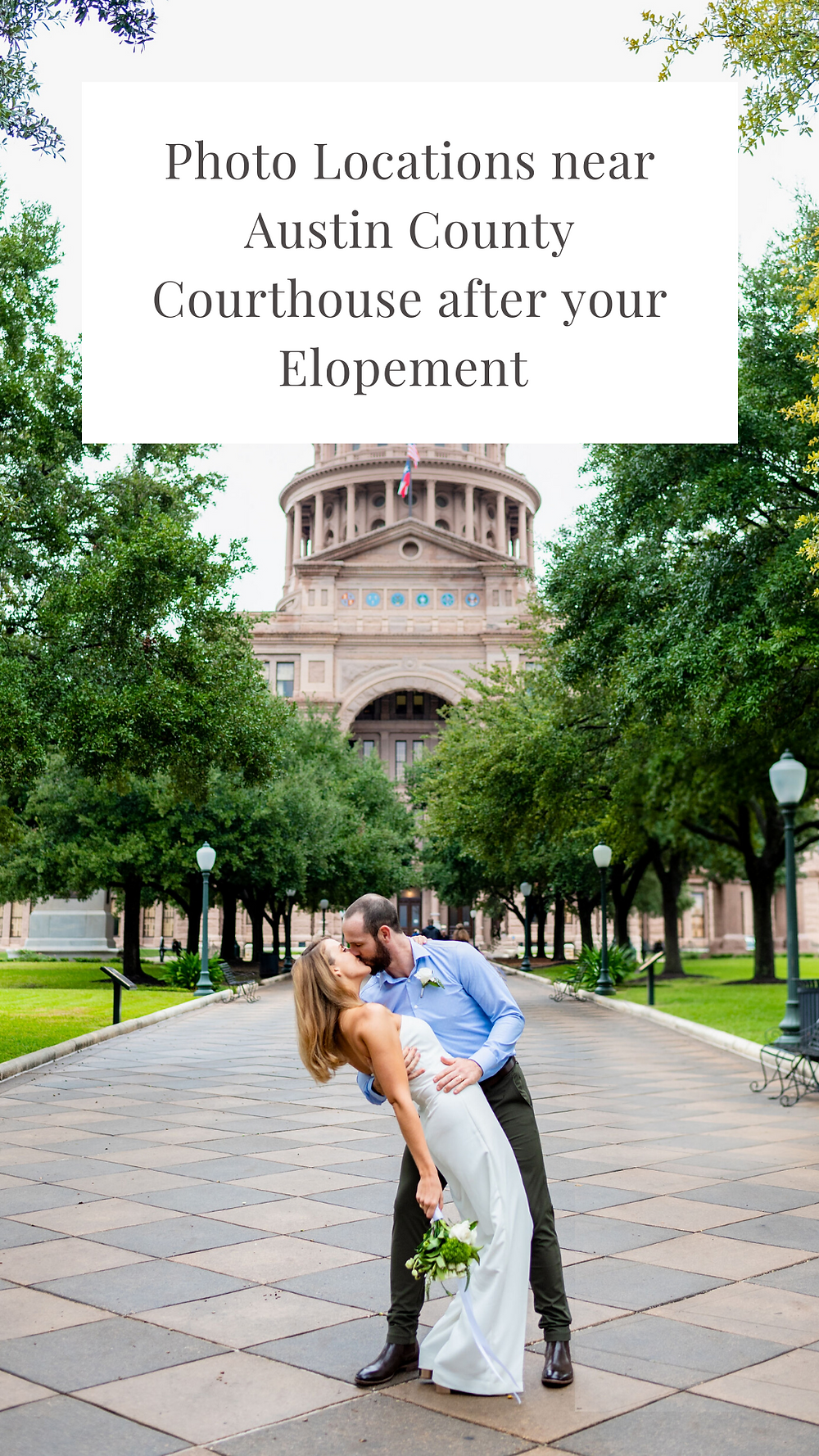 a list of locations to take your wedding photos based on which austin courthouse your choose to elope at