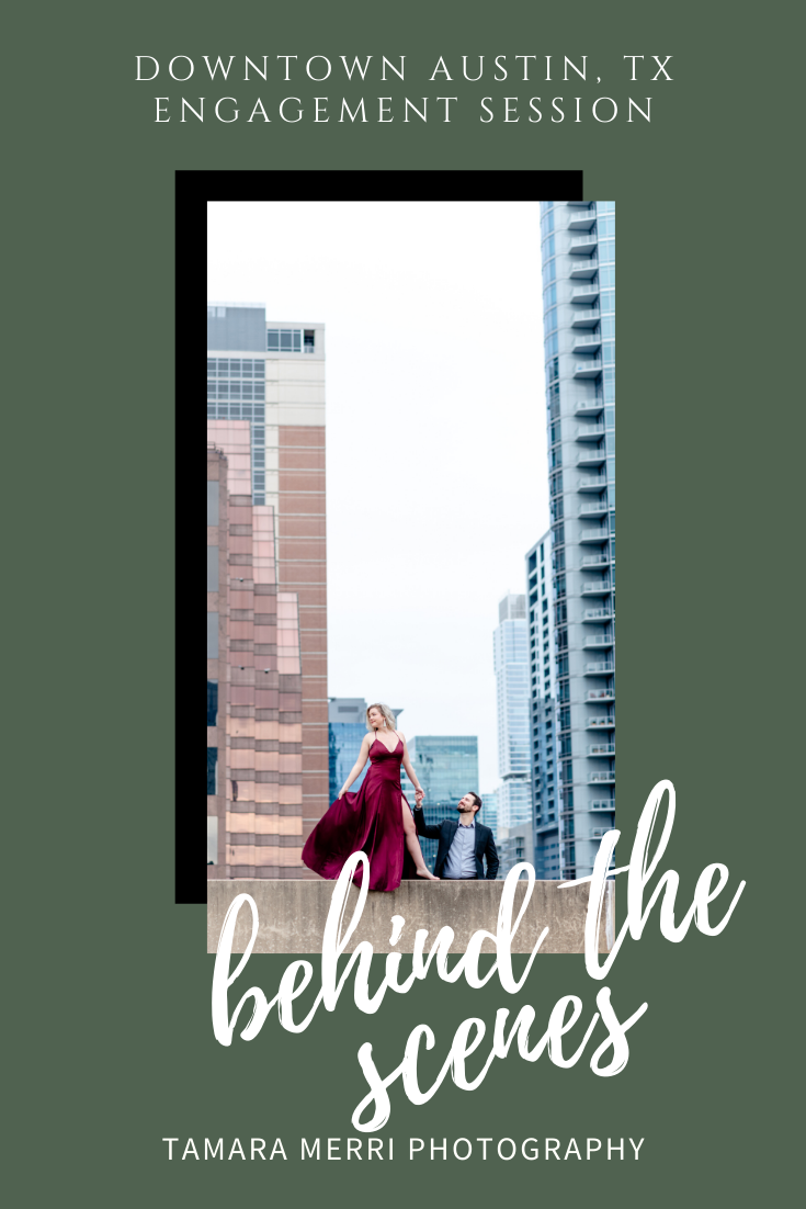 cover photo for pinterest for behind the scenes blog featuring downtown engagement session