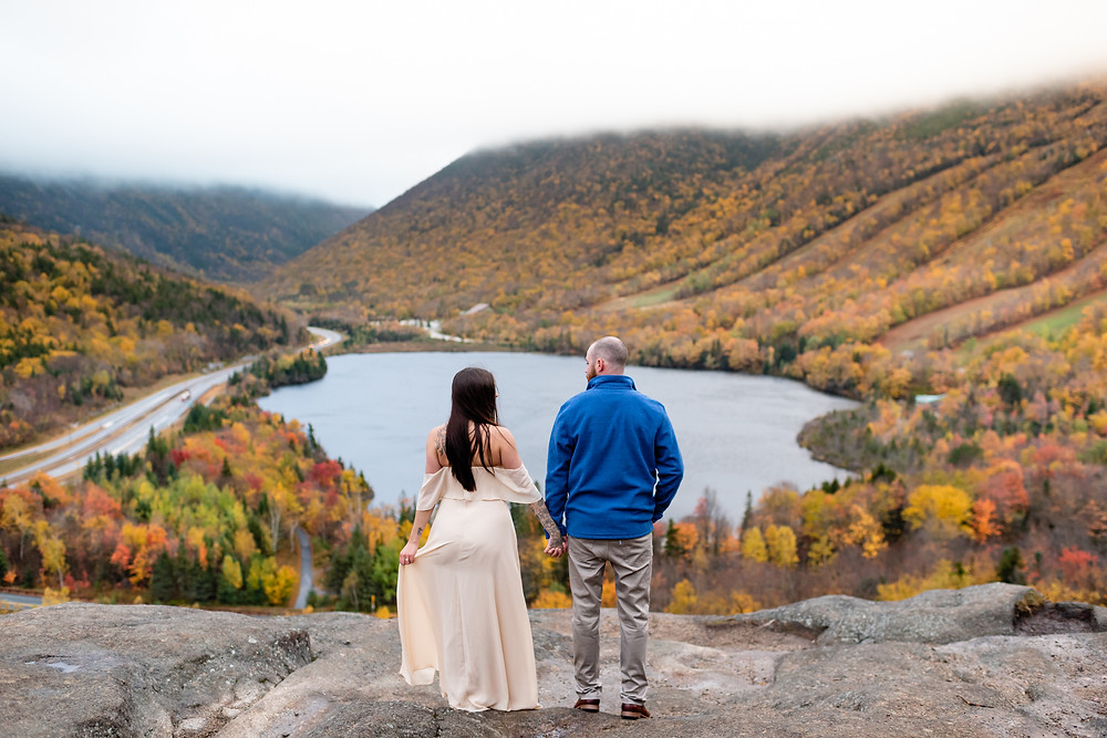 couple stands with their back to the camera, holding hands at artists bluff