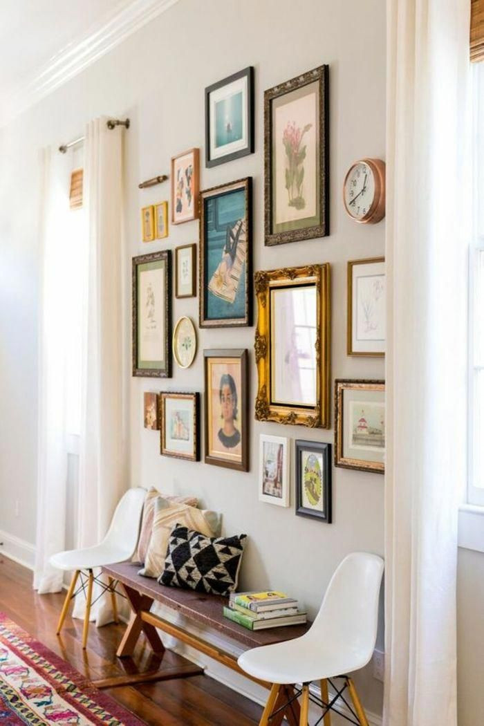 eclectic mix and match of frames for a unique room