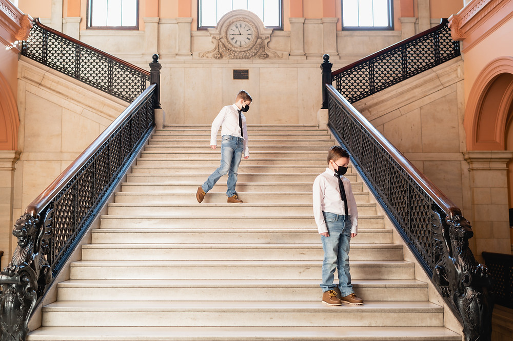 boys on grand staircase in worcester city hall