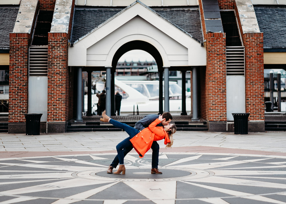 compass rose boston seaport engagement session