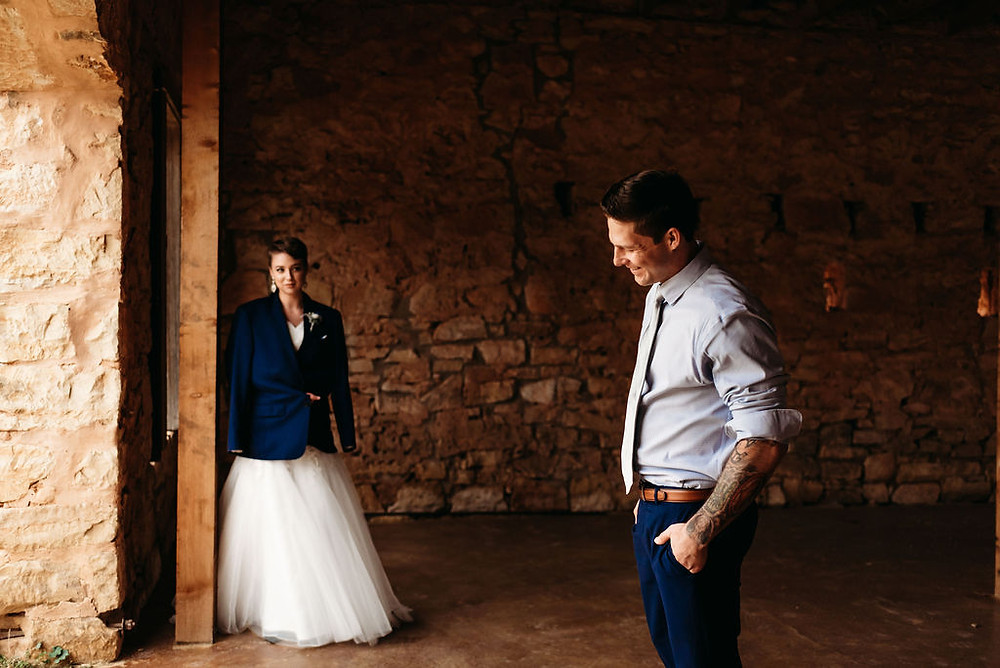 bride looking at groom longingly candid wedding photo
