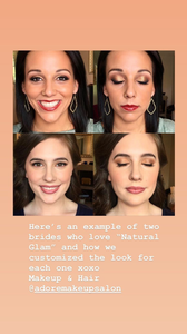 two examples of natural glam wedding makep