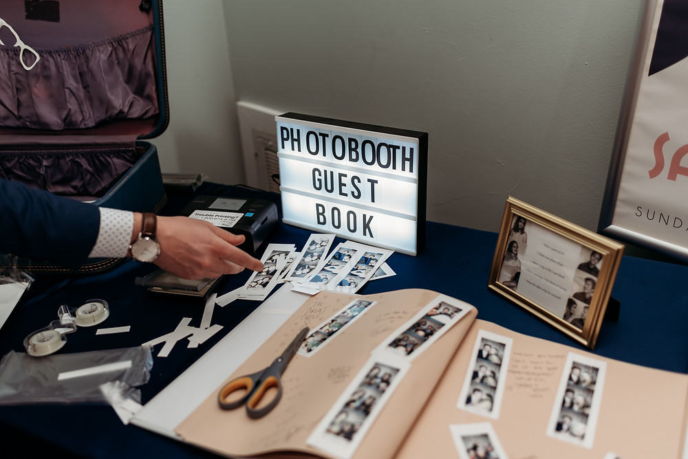 photo booth strips and guest book