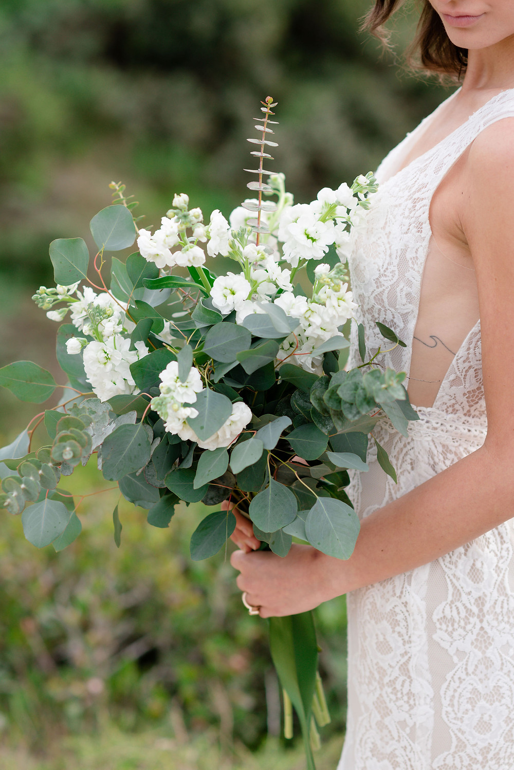 DIY green and white bridal bouquet from trader joes