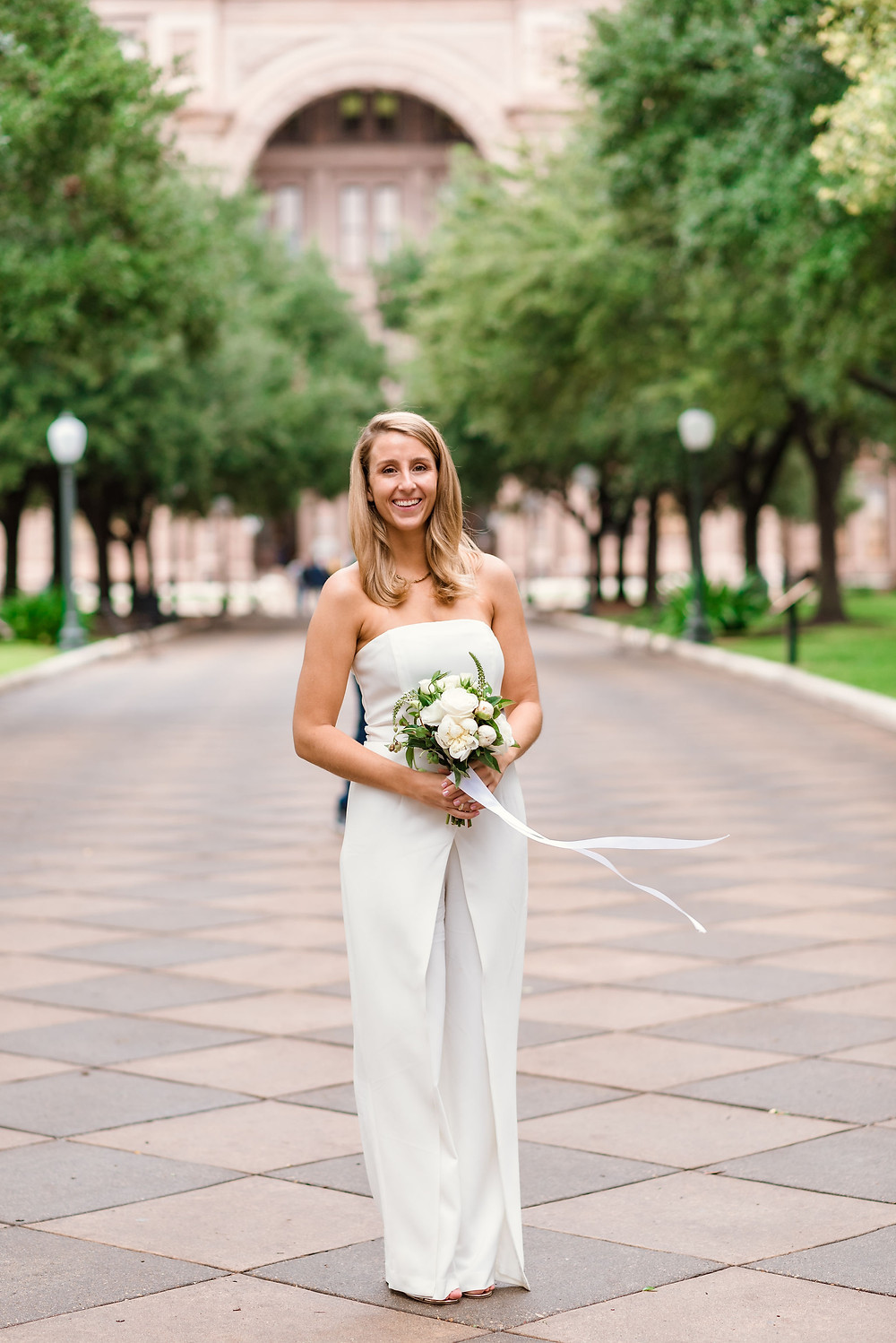 bride in front of austin capitol building for elopement