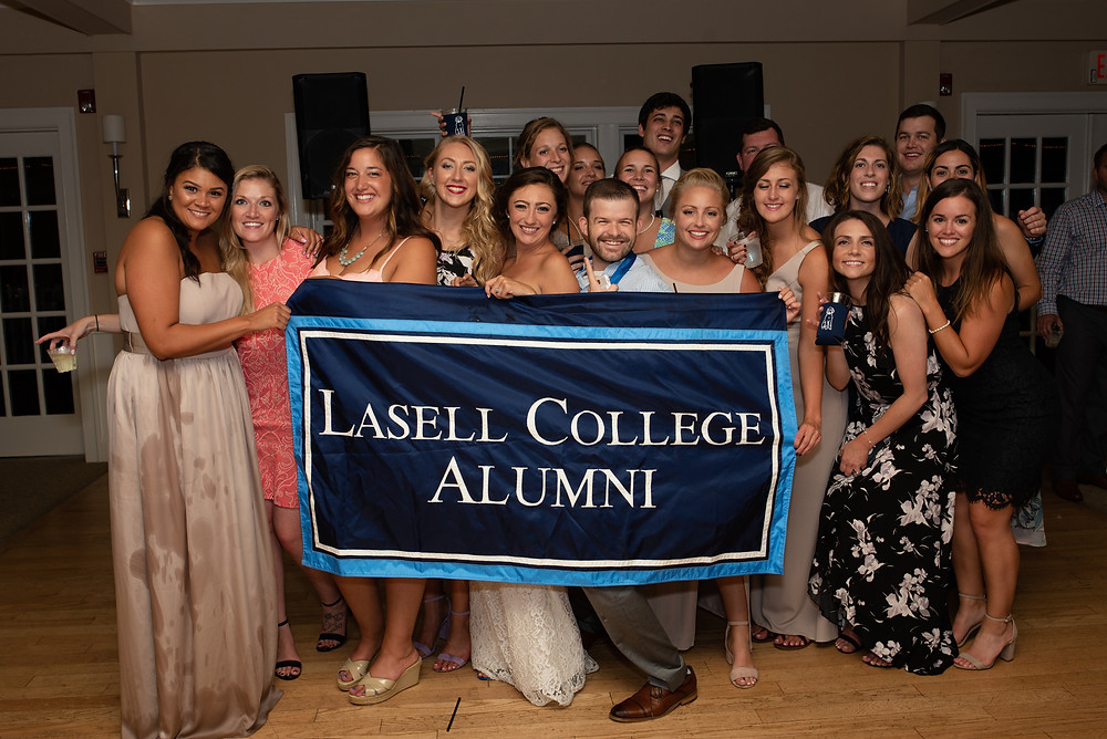 Lasell College Alumni flag at wedding at brookside country club