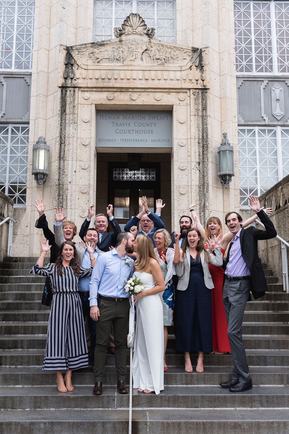 travis county courthouse elopement front steps