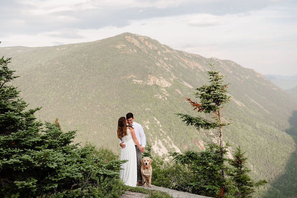couple eloping with dog on mount willard in new hampshire