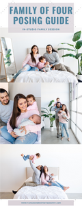 in studio family session poses family of four
