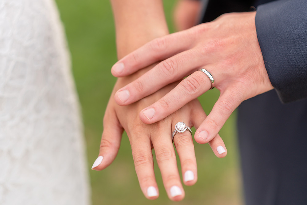 bride and groom's hand with wedding rings