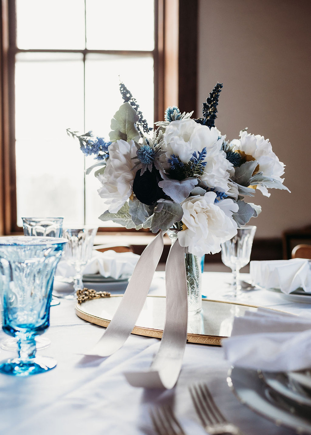 flowers as table centerpiece at wedding
