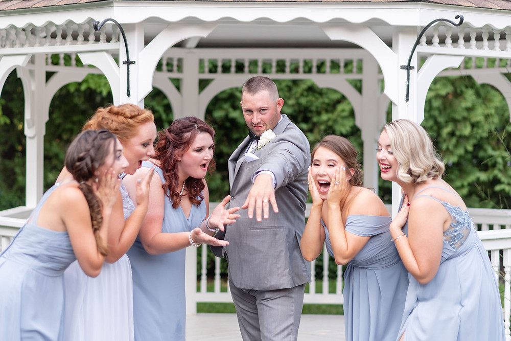 bridesmaids freak out over groom's ring