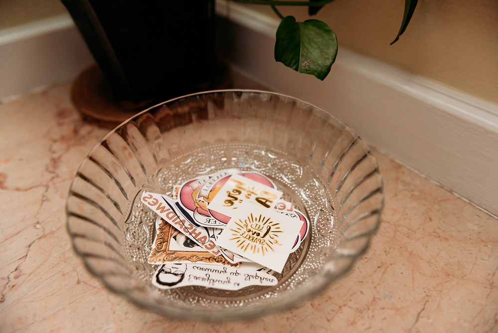 personalized temporary tattoos in a bowl