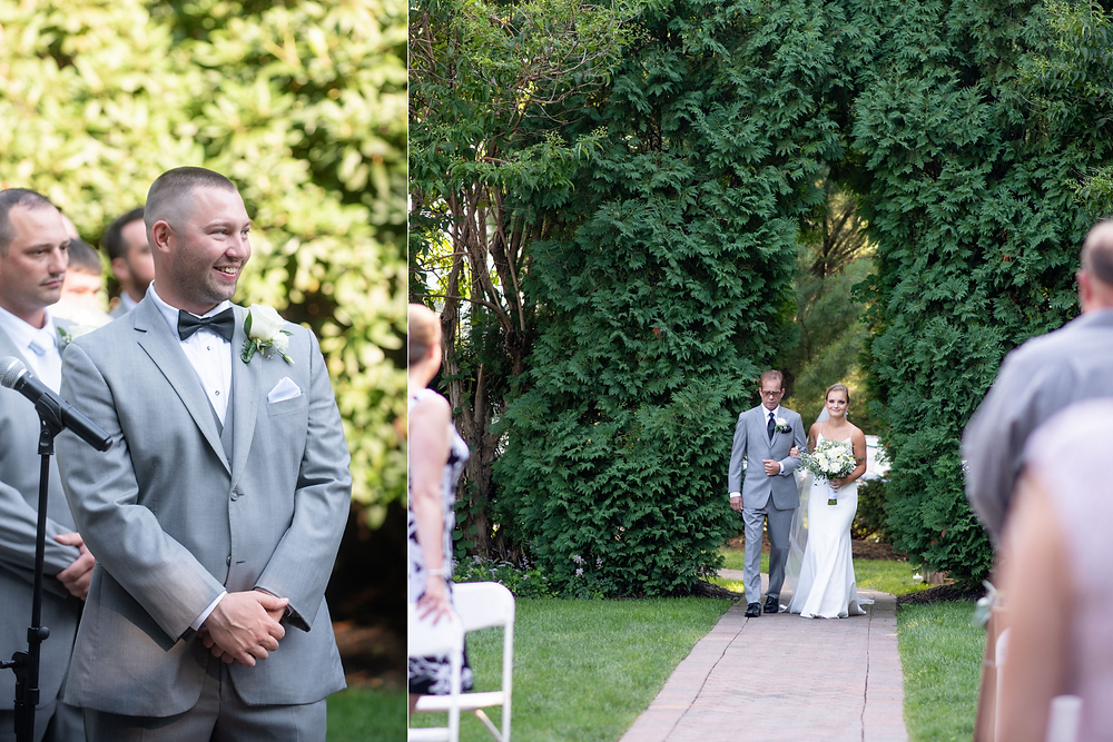 bride walking down aisle and groom's reaction to seeing her