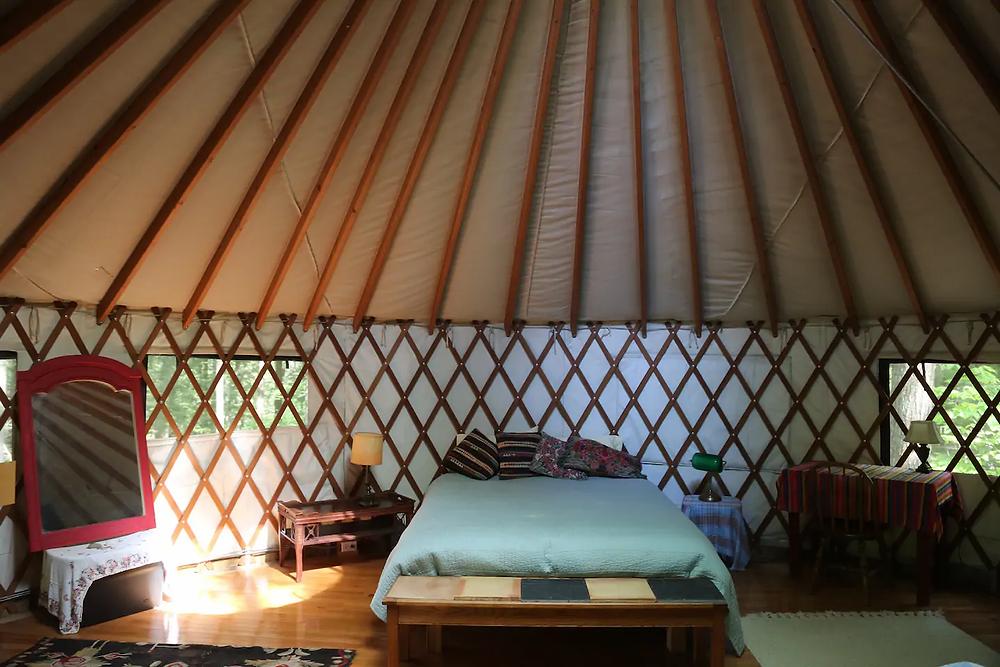 yurt in the woods in Massachusetts