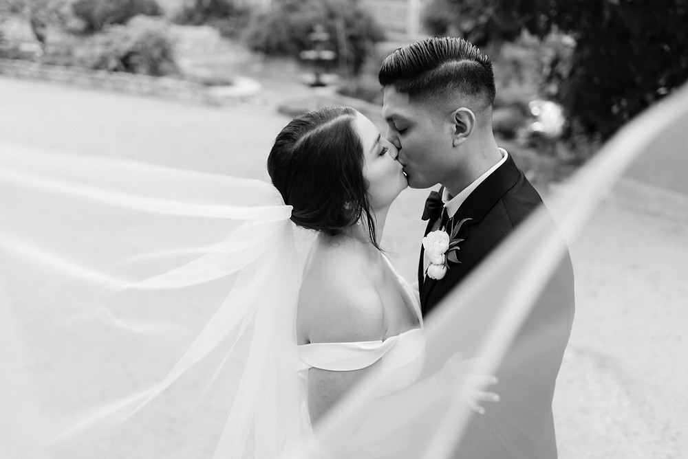 black and white cathedral veil wedding photo