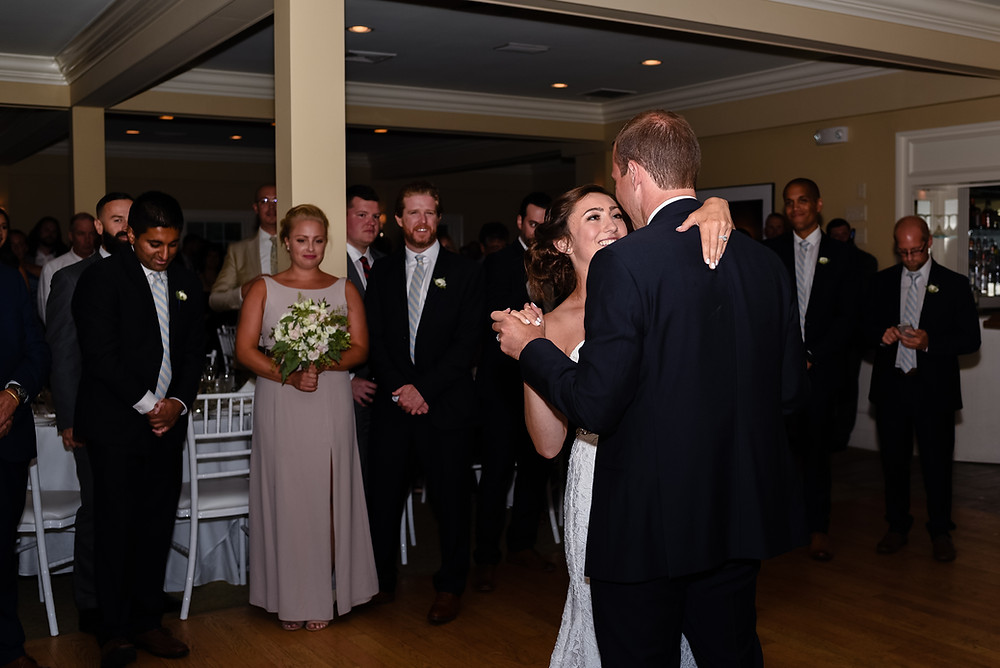 bride and groom first dance at brookside country club