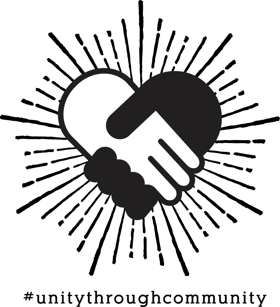 white and black hands shaking with the hashtag #unitythroughcommunity underneath it