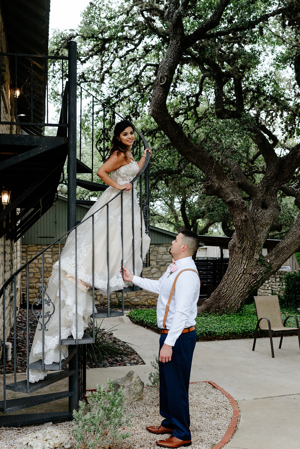bride and groom wedding portrait austin texas on a spiral staircase