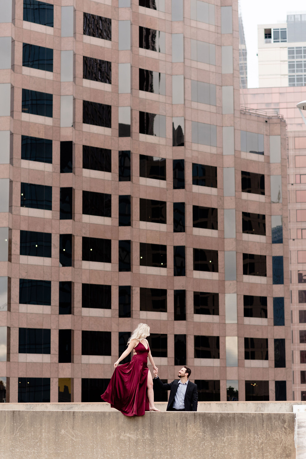 downtown engagement session on rooftop