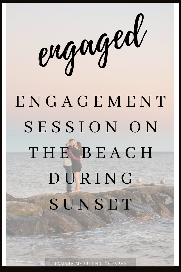 engagement session on the beach during sunset