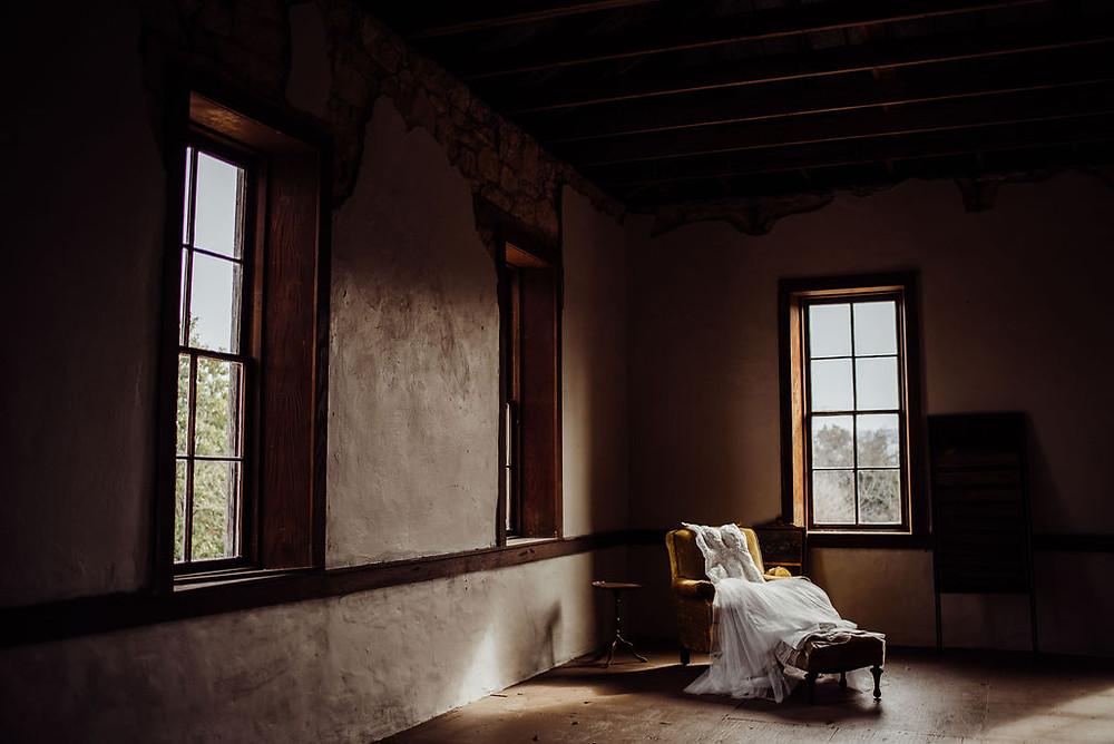 wedding dress moody light