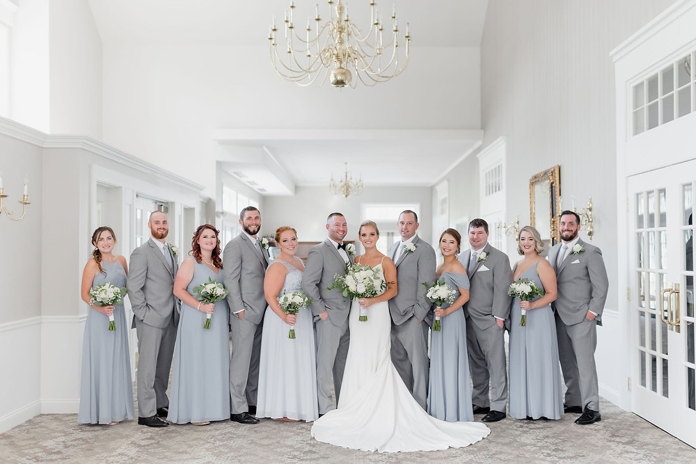 wedding party portrait bridesmaids and groomsmen mixed