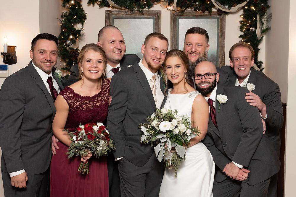 group hug wedding party photo. wedding party poses