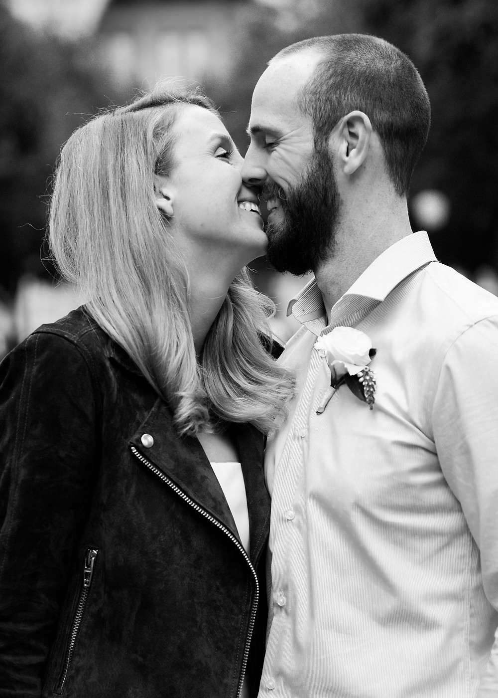black and white smiling kiss photo during austin elopement