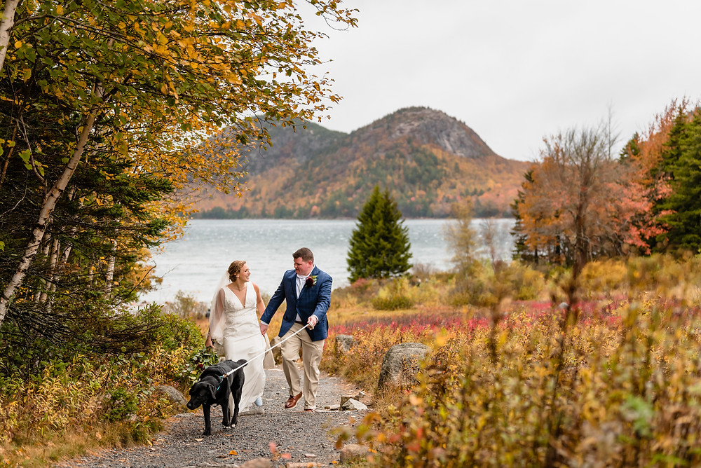 bride and groom at Jordan Pond for elopement photos