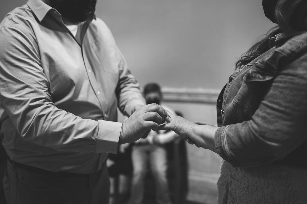 ring exchange during elopement ceremony