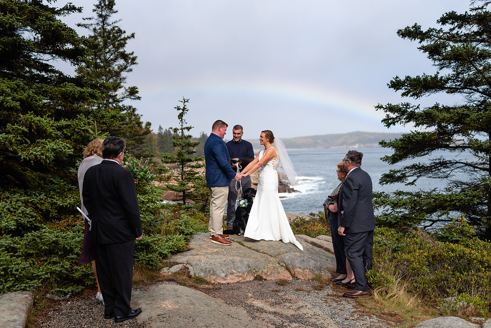 elopement at gorham mountain trail with rainbow behind them