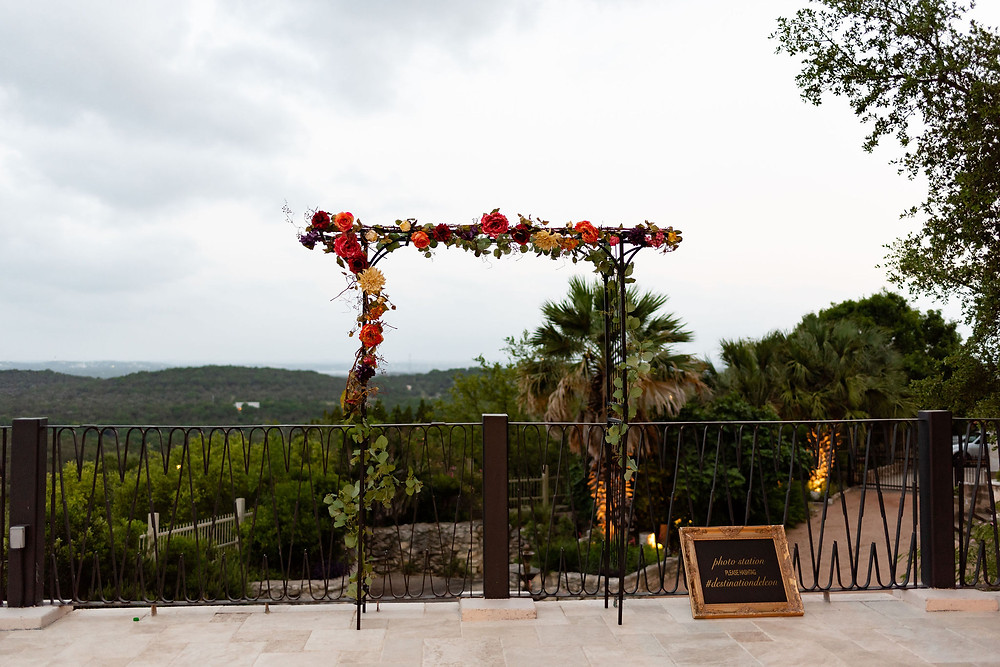 terrace selfie area with hill country view at villa antonia