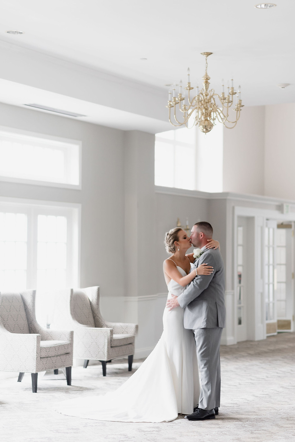 couple portrait in ballroom at chocksett inn