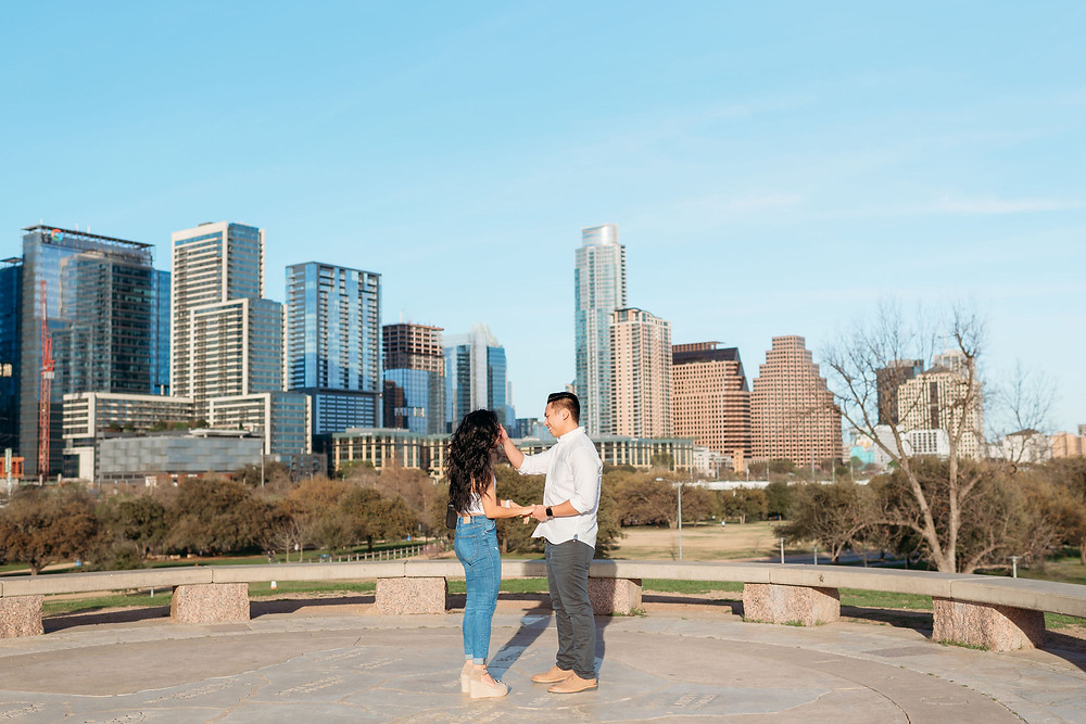doug sahm hill downtown austin proposal. guy wipes his new fiance's tears away after she says yes!