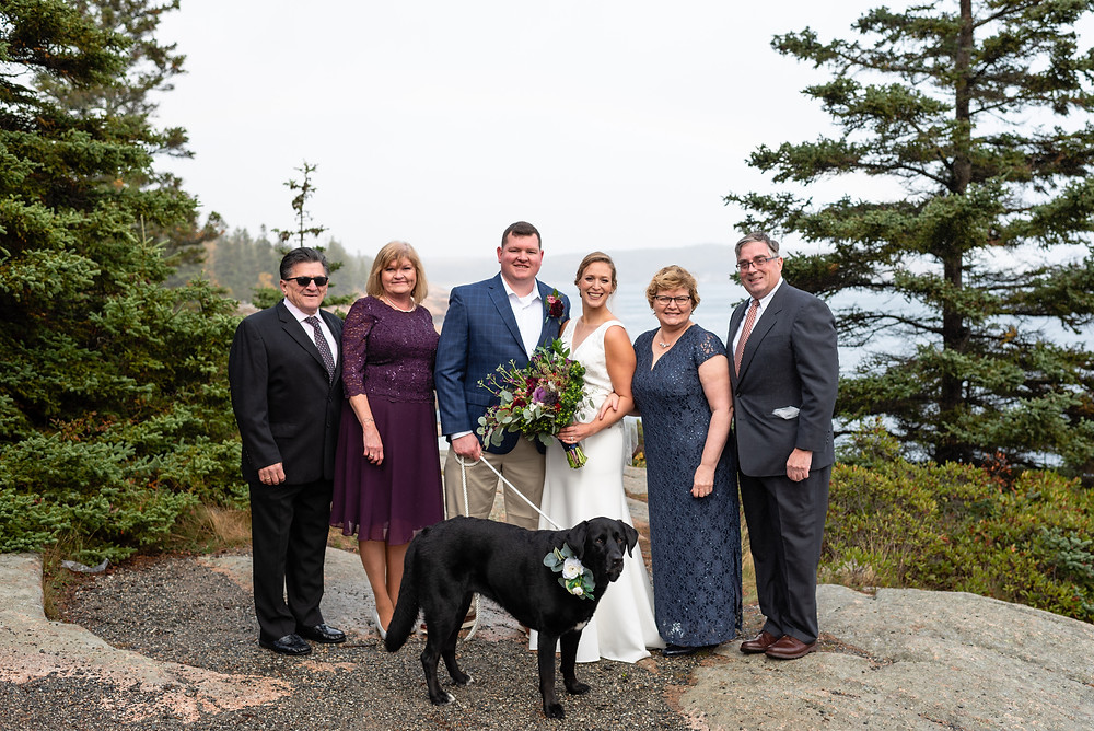 family photo after elopement with dog