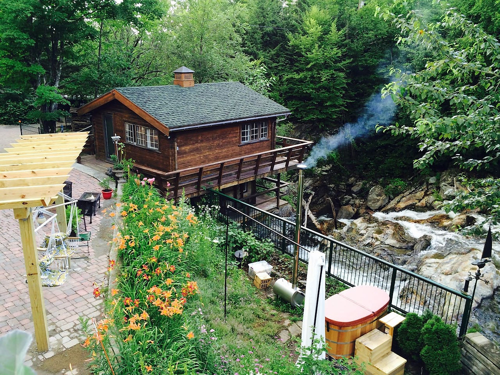 cottage literally over a waterfall in vermont