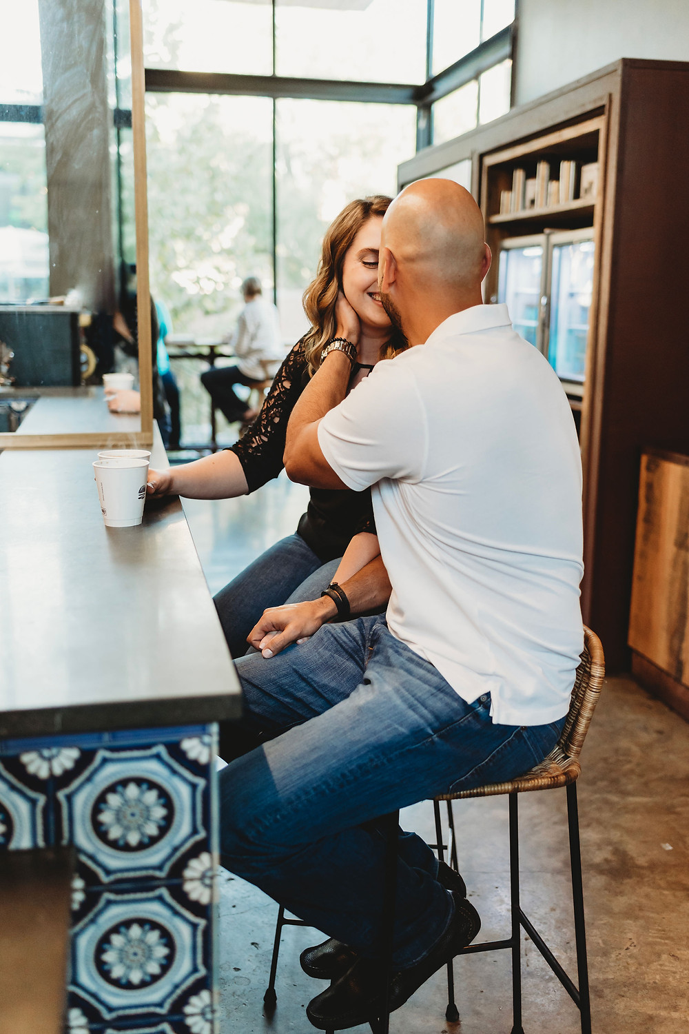 austin coffee house engagement session at Manana on south congress