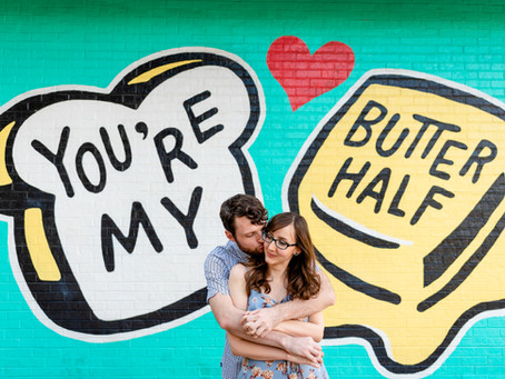 Austin Engagement Session: Butter Half Mural, Batman Mural, Festival Beach | Kellie & Brian