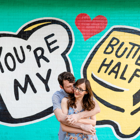 Austin Engagement Session: Butter Half Mural, Batman Mural, Festival Beach | Kellie & Brian