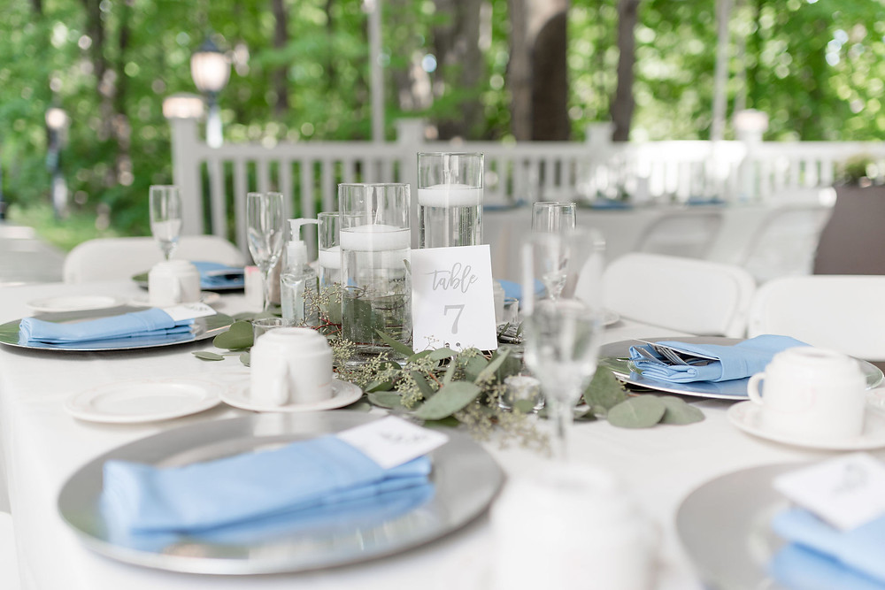 table settings eucalyptus, silver plates and blue napkins