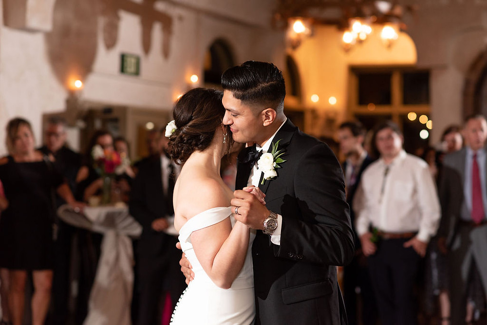 bride and groom first dance at villa antonia